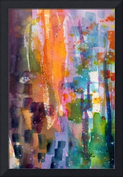 Abstract Watercolor The Orange Slice by Ginette