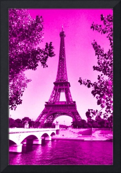 Eiffel Tower Seine River Pink