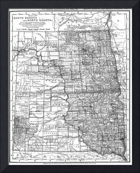 Vintage Map of North and South Dakota (1891) BW
