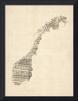 Old Sheet Music Map of Norway