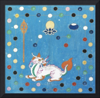 Chinese Dragon Colorful Dots Vintage Watercolor