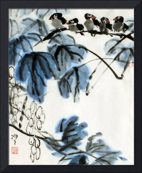 Grapes & Five Birds in the Autumn Wind
