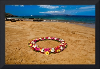 Circle of flowers on the beach 18228