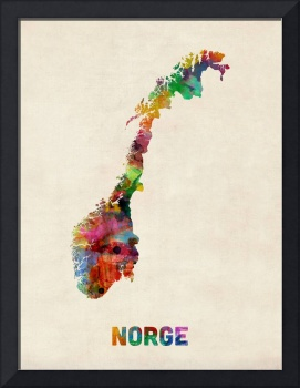 Norway Watercolor Map