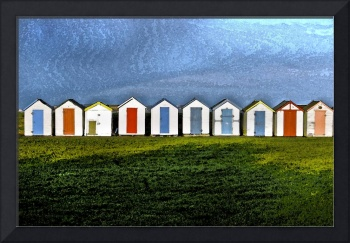beach huts watercolour