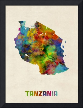 Tanzania Watercolor Map