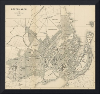 Vintage Map of Copenhagen Denmark (1886)