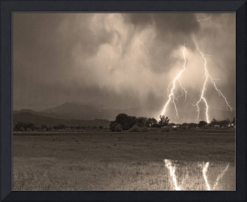 Lightning Striking Longs Peak Foothills 8CBWSepia