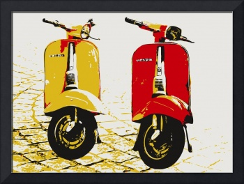 Vespa Scooters on Cobble Street, Pop Art