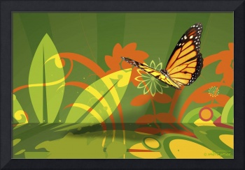 Wallflowers and Butterfly Abstract