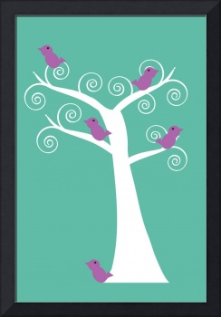 Five Purple Birds in a Tree