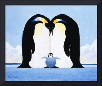 Penguin Parents and Their Baby