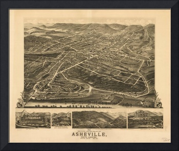 Vintage Pictorial Map of Asheville NC (1891)