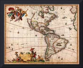 1658 Visscher Map of North America and South Ameri