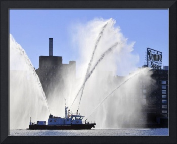 Baltimore City Fire Boat Sprays Domino Sugars