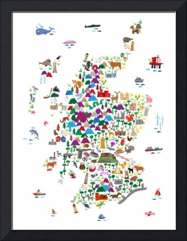 Animal Map of Scotland for children and kids