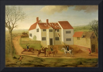 John Sidey and his Hounds at a Farmhouse