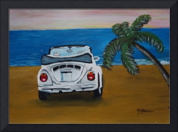 The White Volkswagen Bug At The Beach