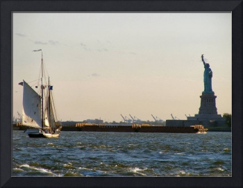 Sailboat and Statue of Liberty