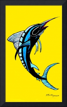 SWORDFISH -YELLOW BACKGROUND-BLACK LINES-NEGATIVE
