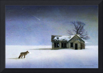 cold comfort coyote and winter cabin