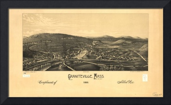 1886 Graniteville, MA Birds Eye Panoramic Map