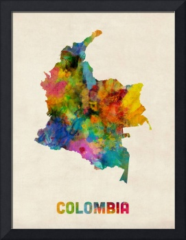 Colombia Watercolor Map