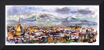 Torino Turin italy Panoramic Cityscape Watercolor