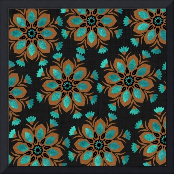 Teal & Brown Decorative Flowers Design