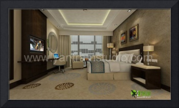 3D Classic Interior Design for Hotel Bedroom