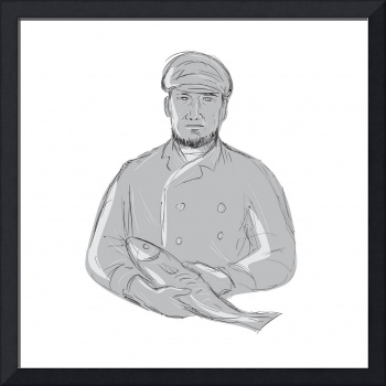 Vintage Fishmonger Holding Fish Drawing
