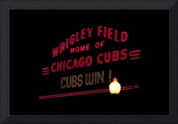 Wrigley Field marquee Chicago Cubs WIN!