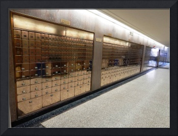 Wall of gold PO boxes