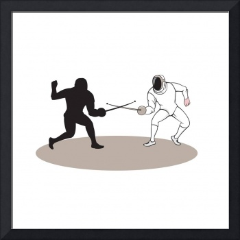 Swordsmen Fencing Isolated Cartoon