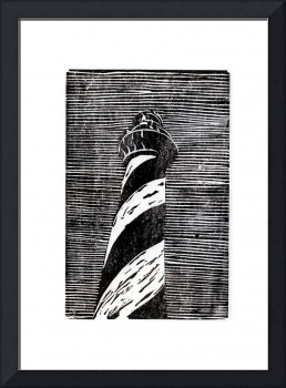 Black and white print of Cape Hatteras Lighthouse