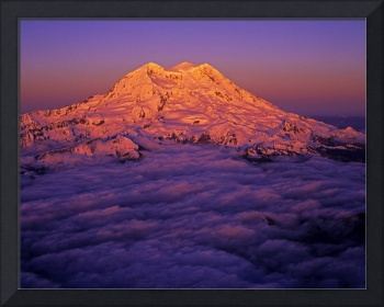 Aerial of sunset lighting on Mount Rainier