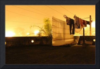 Clothesline at night