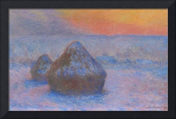 Stacks of Wheat, Sunset with Snow Effect by Monet