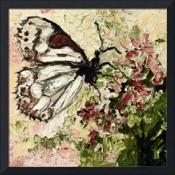 White Butterfly on Flowers Vintage