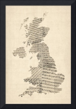Great Britain UK Old Sheet Music Map