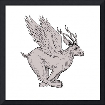 Wolpertinger Running Side Drawing