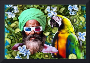 Man and a parrot in a green salad