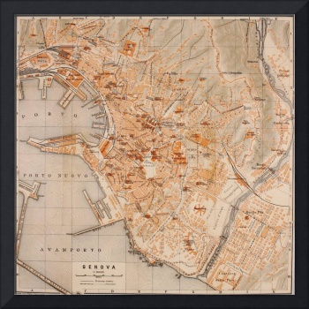 Vintage Map of Genoa Italy (1906)