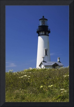 White Lighthouse With A Blue Sky And Wildflowers