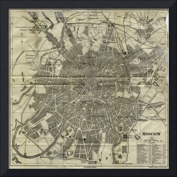 Vintage Map of Moscow Russia (1893)