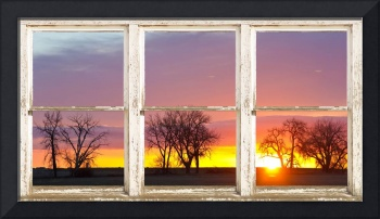 Colorful Morning White Rustic Barn Picture Window
