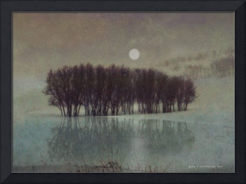 moonrise at icy pond