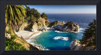 High Angle Panoramic View of a Small Cove with a W