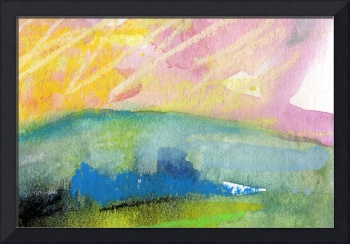 Pink Sky Landscape WC and Pastel by Ginette