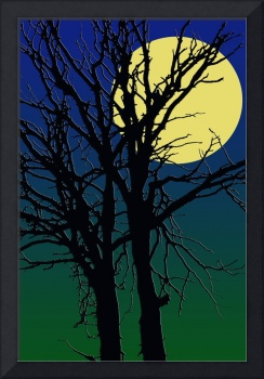 Tree silhuette with full moon